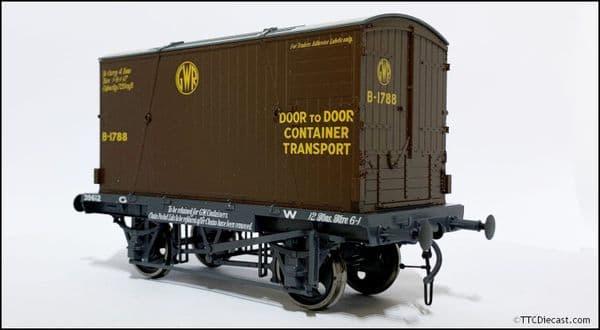DAPOL 7F-037-002 GWR Conflat 39612 BD2 Chocolate Container B-1788 Door to Door, O Gauge